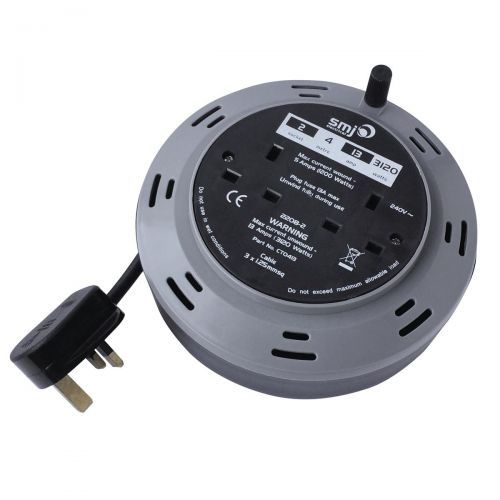 Cable Extension Reel 4 Metre 13 Amp 2 Socket