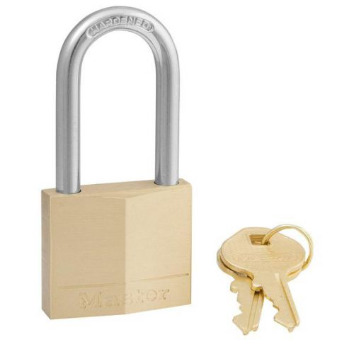 Masterlock Padlock Brass Long Shackle 40mm Ref 140DLH