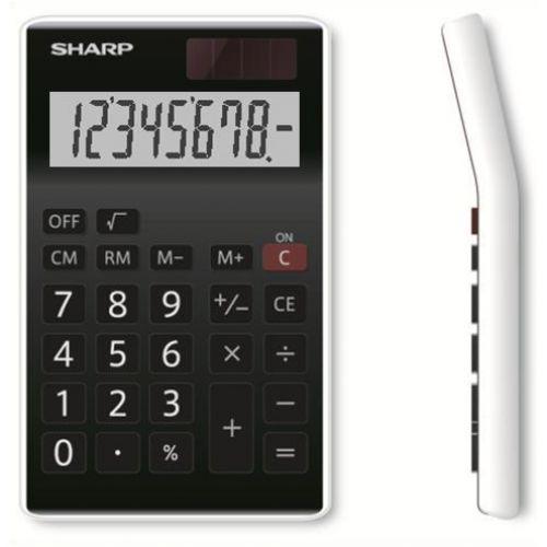 Sharp Desktop Calculator 8 Digit 4 Key Memory Battery/Solar Power 77x10x125mm Black Ref EL310ANWH