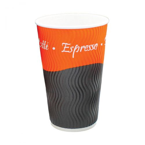 Ripple Paper Cups Triple Walled PE Lining 16oz 450ml Varied Design Ref RY00751 [Pack 25]
