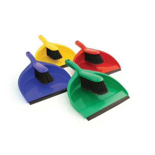 Dustpan and Brush Set Soft Bristles Green [SET]