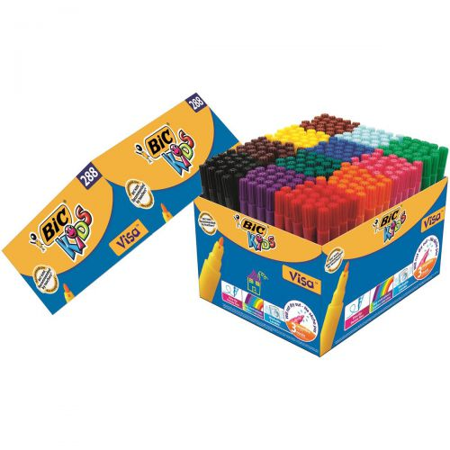 Bic Kids Visa Felt Tip Pens Washable Fine Tip Class Pack Assorted Ref 897099 [Pack 288]