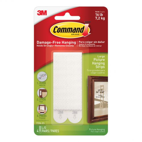 Command Picture Hanging Strips Large White Ref 17206 [Pack 4]
