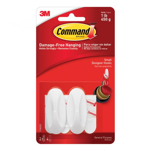 Command Oval Adhesive Hooks Small Ref 17082 [Pack 2]