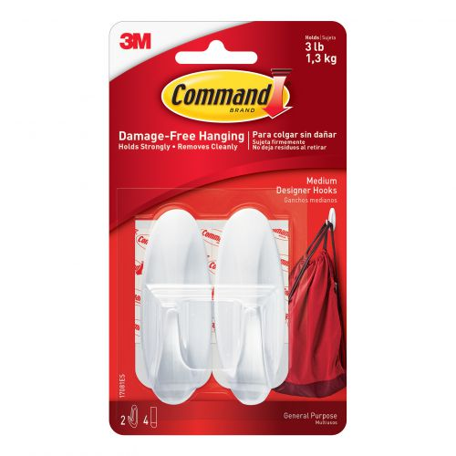 Command Medium Oval Adhesive Hooks pk2
