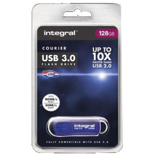 Integral Courier Flash Drive USB 3.0 Blue 128GB Ref INFD128GBCOU3.0