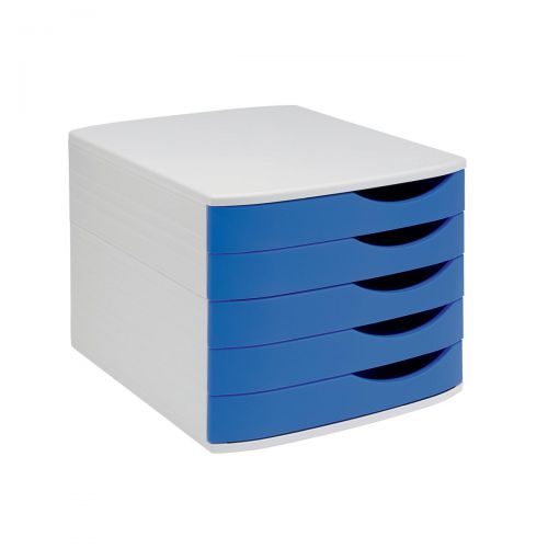 5 Star Elite Desktop Drawer Set 5 Drawers A4 & Documents up to 260x350mm Grey/Blue
