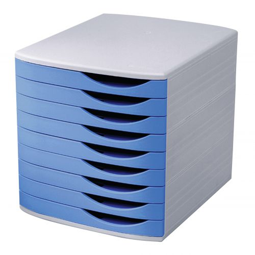 5 Star Elite Desktop Drawer Set 9 Drawers A4 and Foolscap Grey/Blue