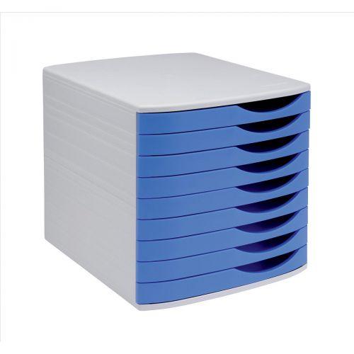 5 Star Elite Desktop Drawer Set 9 Drawers A4 and Foolscap Grey/Blue