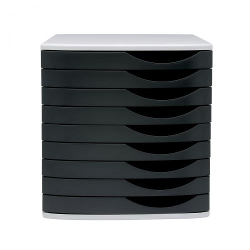 5 Star Elite Desktop Drawer Set 9 Drawers A4 and Foolscap Grey/Black