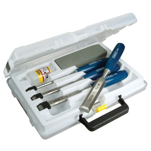 Stanley Chisel Set and Sharpening Kit with Storage Box Ref 0-16-130 [Set 4]