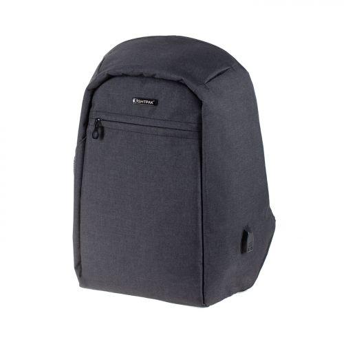 LightPak Safepak Backpack With 15in Laptop Case Polyester Black Ref 46053