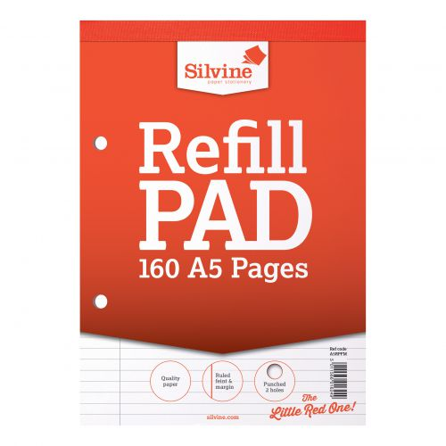Silvine Refill Pad Headbound 75gsm Ruled Margin Perf Punched 2 Holes 160pp A5 Red Ref A5RPFM [Pack 6]