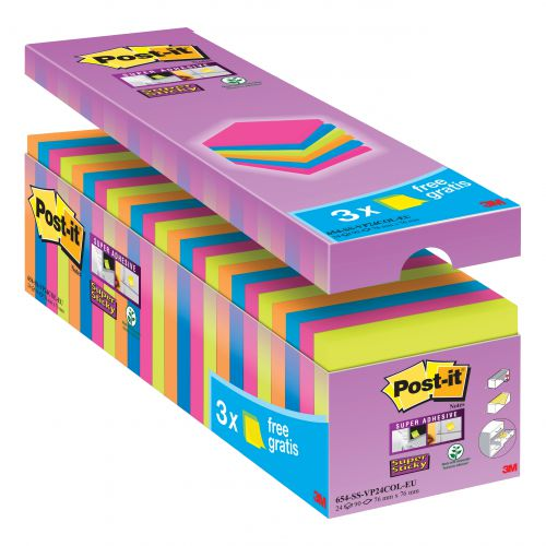 Post-it Super Sticky Notes Value Pack Pad 90 Sheets 76x76mm Assorted Ref 654-SS-VP24COL-EU [Pack 24]