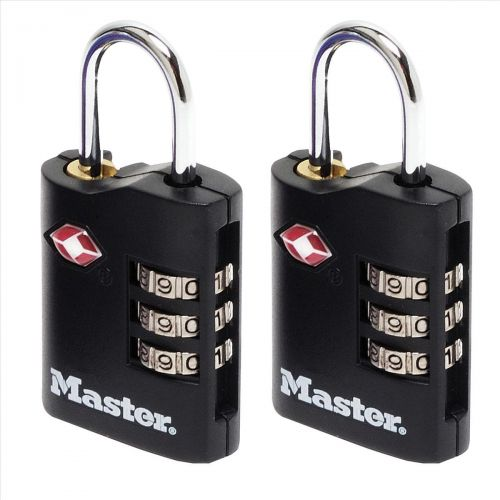 Masterlock Combination Padlock TSA Certified Ref 4680DBLK [Pack 2]