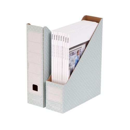 Bankers Box by Fellowes Magazine File Recycled FSC A4 Green/White Ref 4481501 [Pack 10]