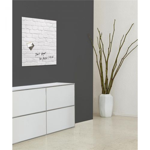 Sigel Artverum Tempered Glass Magnetic Board with Fixings 480x480mm White Brick Ref GL164