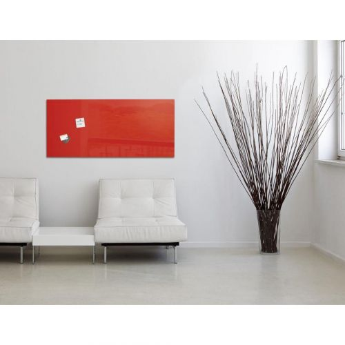 Sigel Artverum Tempered Glass Magnetic Board with Fixings 1300x550mm Red Ref GL242