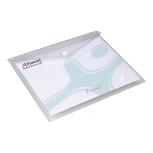 Rexel Popper Wallet Folder Polypropylene A3 Translucent Clear Ref 16131WH [Pack 5]