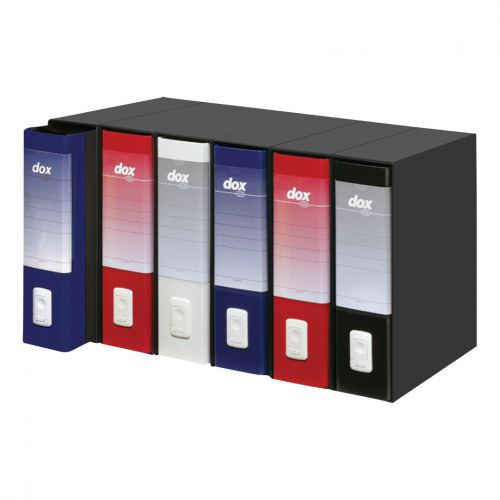 Rexel Dox 1 Lever Arch File Paper on Board 80mmm Spine Foolscap Black Ref D26110 [Pack 6]