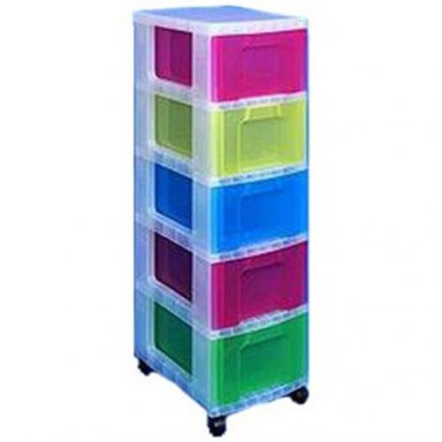 Really Useful Storage Tower Polypropylene 5x12L Drawers W300xD420xH1005mm Clear/Assorted Ref DT1-9214