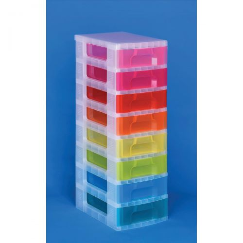 Really Useful Storage Tower Polypropylene 8x7L Drawers Clear/Assorted Ref DT1007