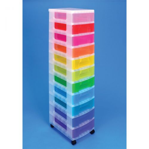 Really Useful Storage Tower Polypropylene 11x7L Drawers Clear/Assorted Ref DT1002