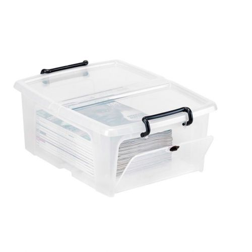Strata Smart Box Clip-On Folding Lid Opens Front or Side 20 Litre Clear Ref HW695
