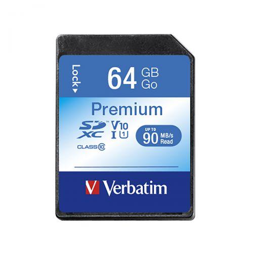 Verbatim SDHC Media Memory Card SD 2.0 FAT32 Class 10 Read 10MB/s Write 10MB/s 64GB Ref 44024