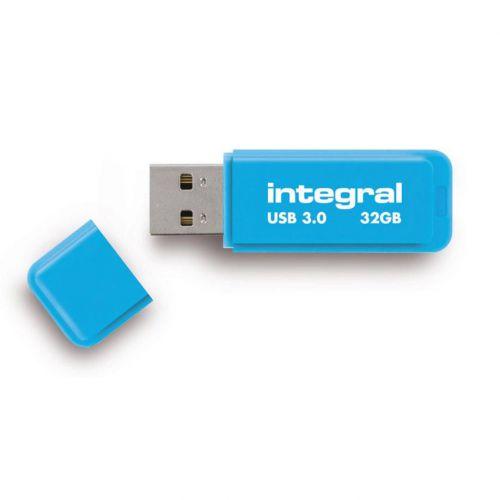 Integral Neon Flash Drive USB 3.0 Blue 32GB Ref INFD32GBNEONB3.0