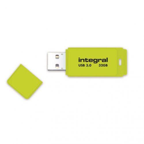 Integral Neon Flash Drive USB 3.0 Yellow 32GB Ref INFD32GBNEONYL3.0