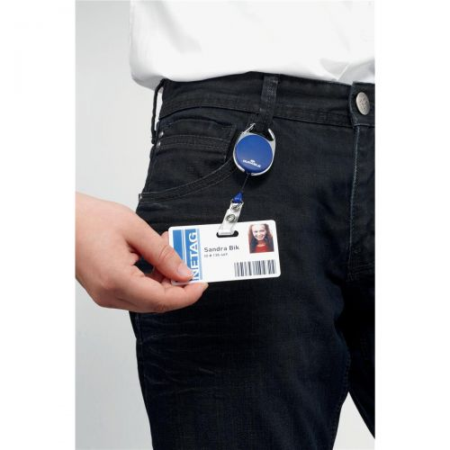 Durable Badge Reel for Punched Clip Holes 800mm Dark Blue Ref 8324/07 [Pack 10]
