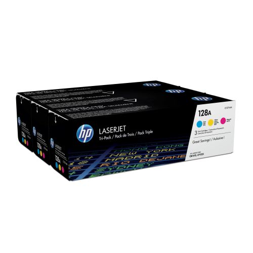 HP 128A Laser Toner Cartridge Page Life 1300pp Cyan/Magenta/Yellow Ref CF371AM [Pack 3]