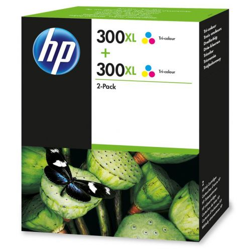 Hewlett Packard [HP] No.300XL Inkjet Cart HighYield Page Life 440pp 11ml Tri-Colour Ref D8J44AE [Pack 2]