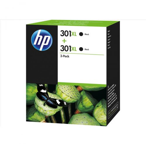 Hewlett Packard [HP] No.301XL Inkjet Cartridge High Yield Page Life 480pp 8ml Black Ref D8J45AE [Pack 2]
