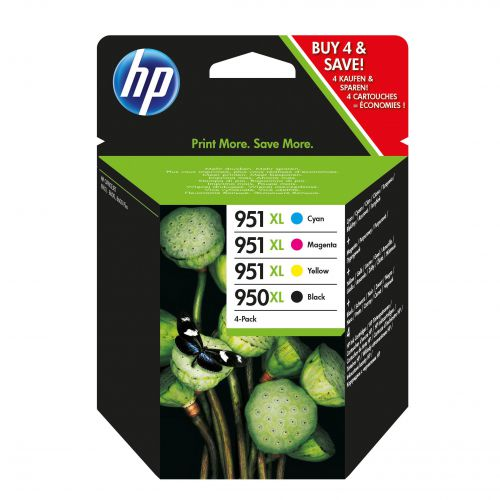 Hewlett Packard [HP] No.950XL/951XL Inkjet Cart HY Blk 2300pp 53ml C/M/Y 1500pp 24ml Ref C2P43AE [Pack 4]