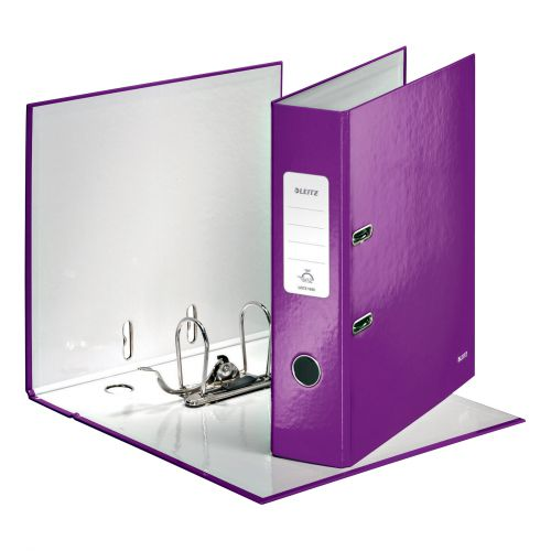 Leitz WOW Lever Arch File 80mm Spine for 600 Sheets A4 Purple Ref 10050062 [Pack 10] [REDEMPTION]