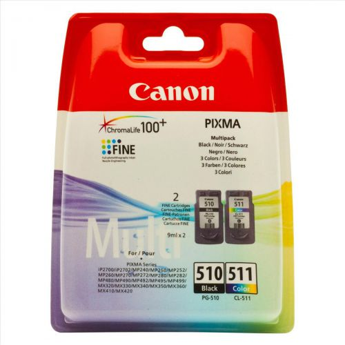 Canon PG-510/CL-511 Inkjet Cartridge Page Life 220pp Black 224pp 9ml Tri-Colour Ref 2970B010 [Pack 2]