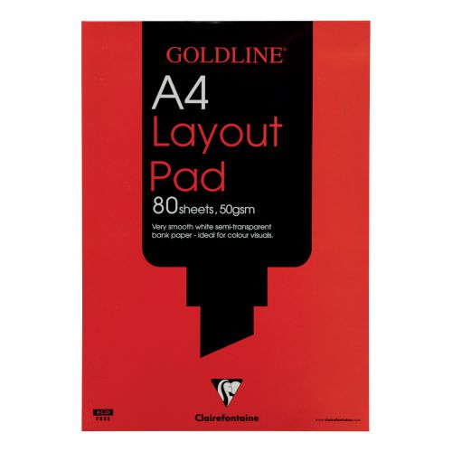Goldline Layout Pad 50gsm Acid-free Paper 80 Sheets A4 White Ref GPL1A4Z [Pack 5]