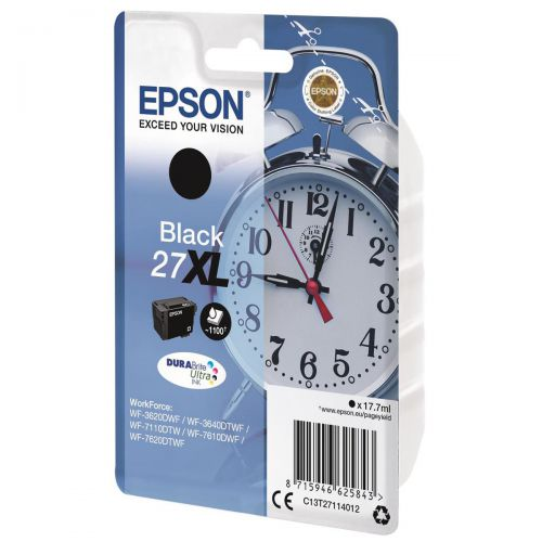 Epson 27XL Inkjet Cartridge Alarm Clock High Yield Page Life 1100pp 17.7ml Black Ref C13T27114012