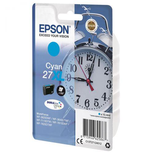 Epson 27XL Inkjet Cartridge Alarm Clock High Yield Page Life 1100pp 10.4ml Cyan Ref C13T27124012