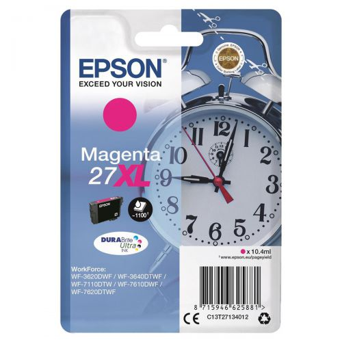 Epson 27XL Inkjet Cartridge Alarm Clock High Yield Page Life 1100pp 10.4ml Magenta Ref C13T27134012