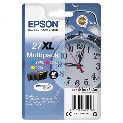 Epson 27XL Inkjet Cart Alarm Clock High Yield Page Life 1100pp 10.4ml C/M/Y Ref C13T27154012 [Pack 3]