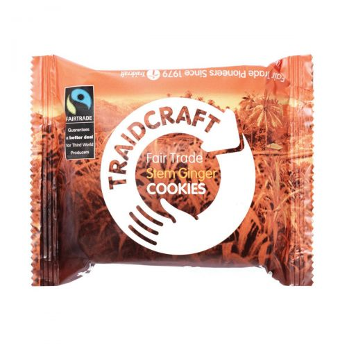 Traidcraft Cookies Stem Ginger Fairtrade 2 per Minipack Ref A07821 [Pack 16]