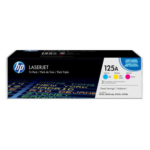 HP 125A Laser Toner Cartridge Page Life 1400pp Cyan/Magenta/Yellow Ref CF373AM [Pack 3]