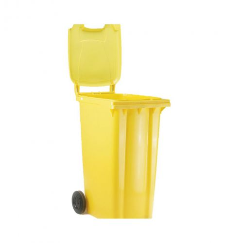 Wheelie Bin High Density Polyethylene with Rear Wheels 80 Litre Capacity 445x525x930mm Yellow