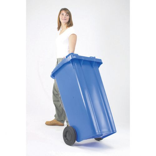 Wheelie Bin High Density Polyethylene with Rear Wheels 80 Litre Capacity 445x525x930mm Blue