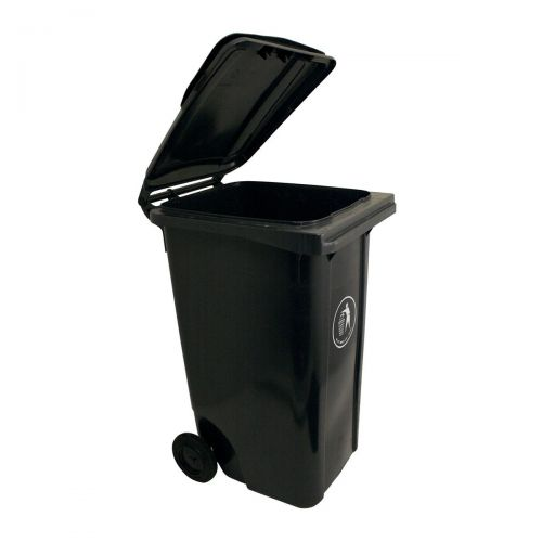 Wheelie Bin High Density Polyethylene with Rear Wheels 120 Litre Capacity 480x560x930mm Grey