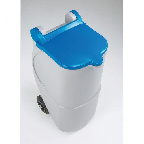 Designer Mobile Recycling Wheelie Bin for Paper 90 Litre Capacity 420x500x930mm Blue