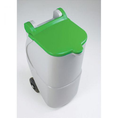 Designer Mobile Recycling Wheelie Bin for Glass 90 Litre Capacity 420x500x930mm Green